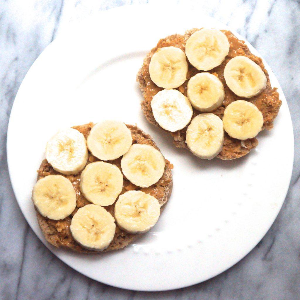 race day peanut butter bagel breakfast