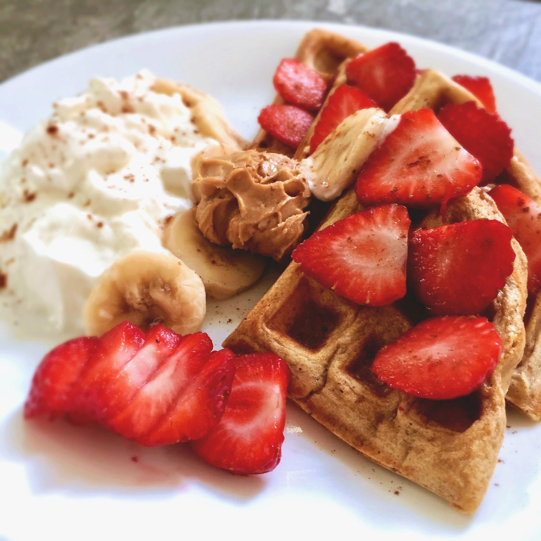 Kodiak Cakes Superfood Waffles with Greek Yogurt & Strawberries