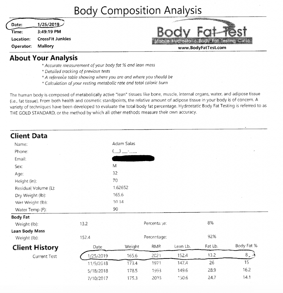 Body fat loss muscle gain analysis