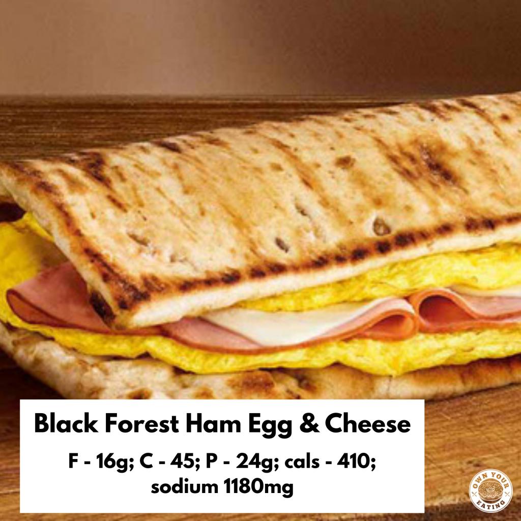 Black forest ham egg & cheese flatbread subway breakfast