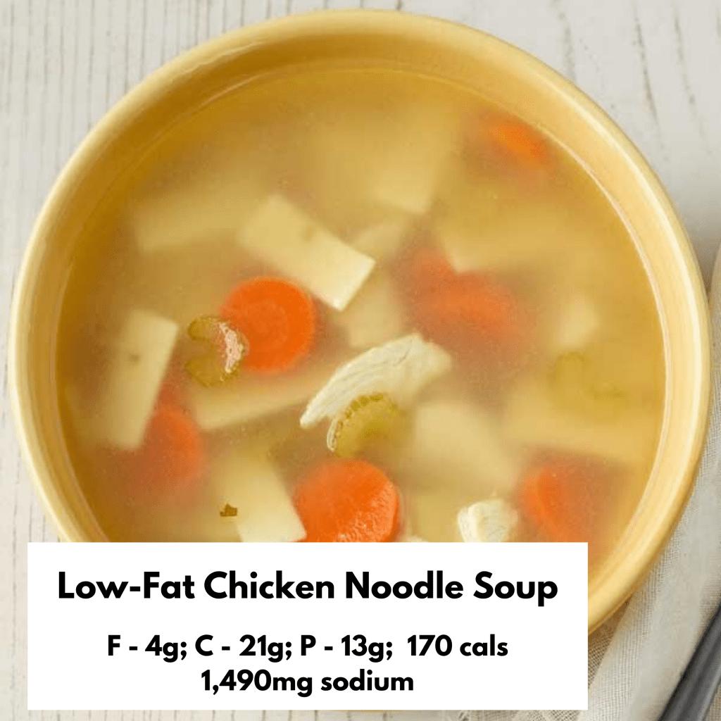 Low-fat chicken noodle soup