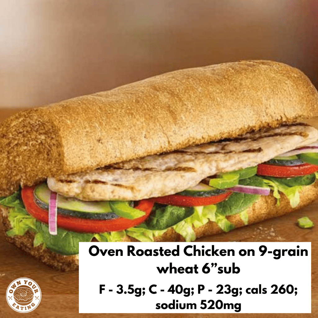 Oven roasted chicken fresh fit sub subway