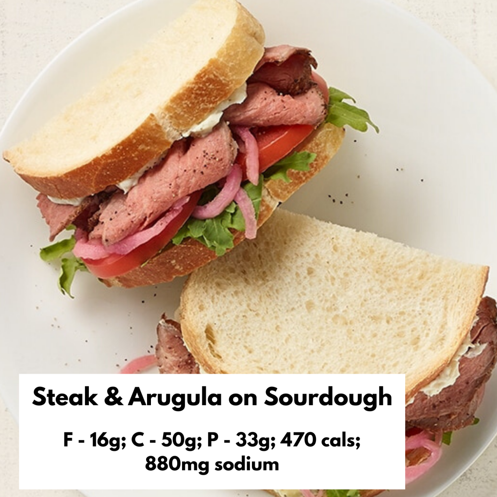 Steak and arugula on sourdough