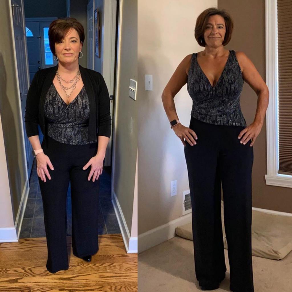 Kathy side by side 4 months progress